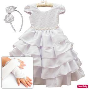 Vestido Luxo Branco Dama Primeira Comunhao Daminha Formatura