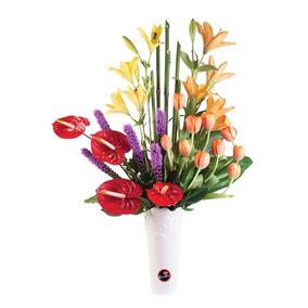 Base De Cerámica Rosatel Con Tulipanes