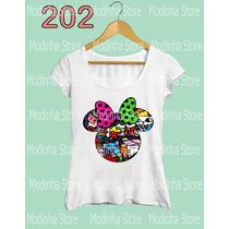 Camiseta Blusa Tshirt Feminina Mickey Minnie Romero Brito