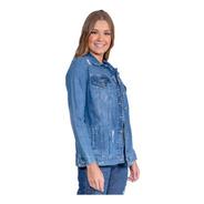 Jaqueta Jeans Maxi Feminina Revanche Chandelle Azul