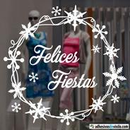 Vinilos Navideños Coronas L Vidrieras Felices Fiestas  N3