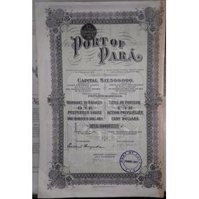 Apólice De Us$ 100 Das Obras Do Port Of Pará (1921)