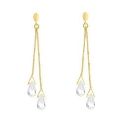 Brinco De Ouro 18k Feminino Gota Pedra Cristal - Viagold B16