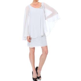 Vestido Fiesta Blanco Arena Novia Gasa Elegante Talla 7 Boda