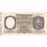 Billete 5 Pesos Moneda Nacional Serie A Bot 1924 - Casi S/c