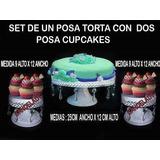 Set-un Porta Torta Dos Posa Cupcakes , De Metal,con Caireles