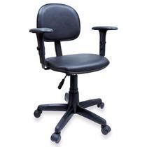 Cadeira Secretária Giratória Ultra Couro Ecológico Com Braço