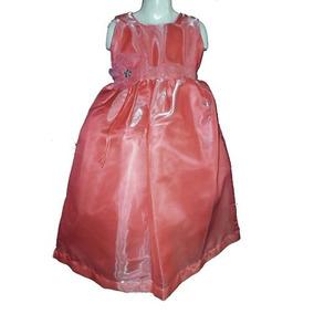 Nuevo Vestido Largo En Rosa Salmon De Organza Satinada