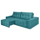 Sofá 4 Lugares Portinari Retrátil E Reclinável Suede Azul