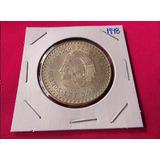 Una Moneda Antigua Plata Moneda 5 Pesos Cuahutemoc 1948