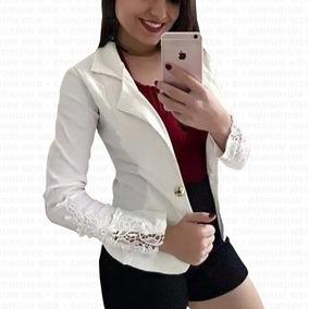 Blazer Feminino 1 Botão Manga Renda Terninho Casaco Blusa