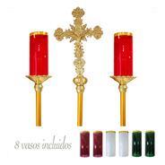 Cirial Y Cruz Alta Procesional Con 8 Vasos Liturgicos
