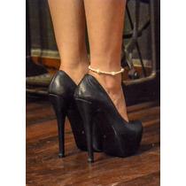 Stiletto Cuero Azul Lola Roca Liquidación, Calzado, Botas