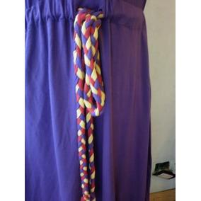 Rapsodia Lila Vestido Con Lazo Multicolor Algodon