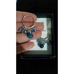 Aros Cubanos En Plata 925 Con Apatito Azul Y Cristales