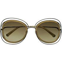 Óculos Sol Feminino Redondo Guadrado Grande Metal Acetato