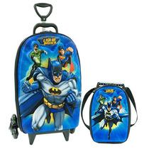 Mochilete Liga Justiça Batman Mochila Rodinha 3d + Lancheira