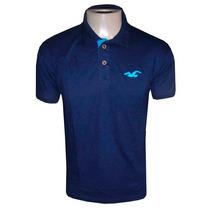 Camisa Hollister Gola Polo Masculina Camiseta Azul Escuro