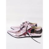 Zapatos Stilletos Acordonados Mujer Taco Bajo. Metalizado