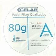 Papel Filtro Qualitativo - 80g Diametro De 7cm 100 Fls Celab