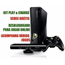 Xbox 360 Kinect Desbloqueio Kit-bateria Vários Jogos