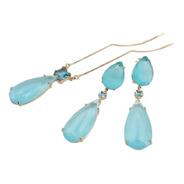 Conjunto Colar E Brincos Gotas Elegantes Azul Celeste