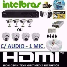 Kit Cftv 4 Camera Ahd 720p Infra Dvr4 Canais Intelbras 1004