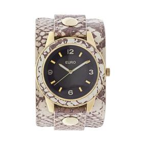 Relógio Euro Bracelete De Couro Fashion Feminino Eu2035tv/2x