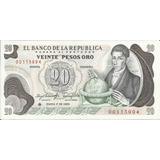 Colombia Reposición 20 Pesos Oro 1 De Enero 1983