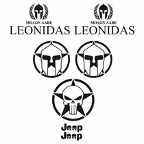 Sticker - Calcomania - Vinil - Leonidas Y Cascos Jeep