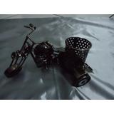 Mini Moto Triciclo Em Metal Sucata Aço Porta Caneta