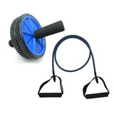 Kit Treino Funcional Roda Exercícios + Elástico Extensor