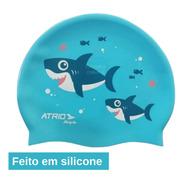 Touca De Natação Infantil Azul Tubarão Atrio Esportes  Es372