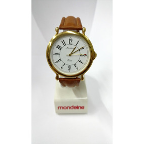 Relógio Mondaine Dourado Pulseira Couro Legítimo