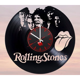 Reloj De Pared Vinilo Acetato Lp Rolling Stone Rock Arte