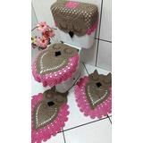 Jogo Tapetes Coruja Em Crochê Para Banheiro 4 Peças - Ban12