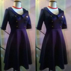 Vestido Pin Up Retro Navy Jersey Elastizado