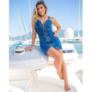 Vestido Sol Jeans Curto Zíper Frontal Com Lycra 3133