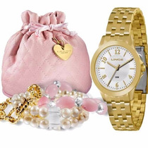 Relógio Lince Dourado Feminino (orient) Kit Lrg4296l Wr 30m/