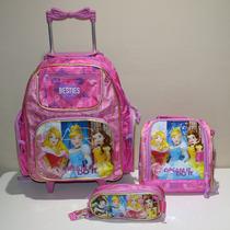 Kit Mochila Infantil Princesas Disney Rodinha - Promoção