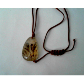 Cordão,presente De Natal, Pingente Pedra Com Desenhos