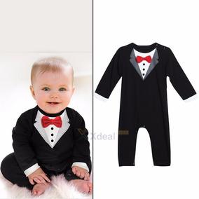 Traje Formal Para Bebé Tipo Jumper Elegante Con Moño Rojo