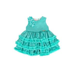 Vestido Infantil De Festa Verde Babado Tam. P / G Criança
