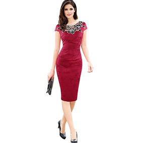 Kenancy Elegante Vendimia Bordado Vestido