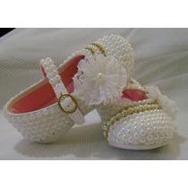 Sapato Customizado Com Pérolas... Lindo Para Batizado
