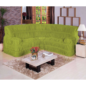 Capa De Sofá De Canto Verde Malha Gel 21 Elástico