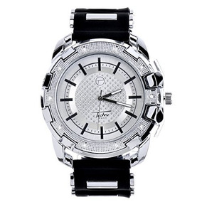 Men Techno Pave Hip Hop Iced Out Bling Diamond Silver Tone S
