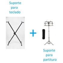 Estante Para Partitura + Estante Suporte Para Teclado Kit