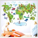 Adesivo Parede Criança Bebe Infantil Mapa Mundi Animais