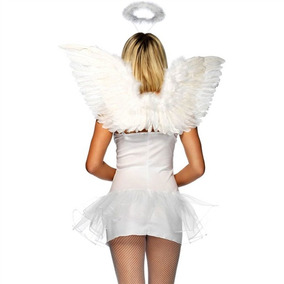 Asa De Anjo Adulto Para Coroação Branca C/ Aureola P/entrega